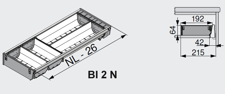 blum orgaline schubladeneinsatz bi 2 n edelstahl. Black Bedroom Furniture Sets. Home Design Ideas